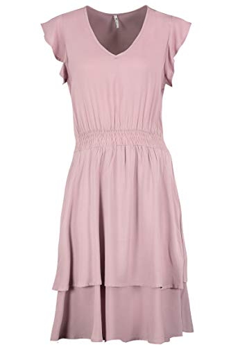 Sublevel Damen Volant-Kleid mit V-Ausschnitt Kurzarm Light-Purple L/XL