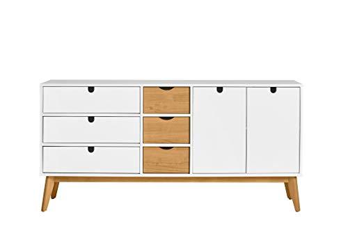 ambiato Sideboard Chris Massivholz Pinie gewachst, TV Board, 6 Schubkästen, 2 Türen