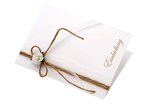 ZauberDeko Karte Einladung Danke Hochzeit Vintage Natur Rose Hochzeitskarte Dankeskarte Einladungskarte Doppelkarte, Modell:Einladung