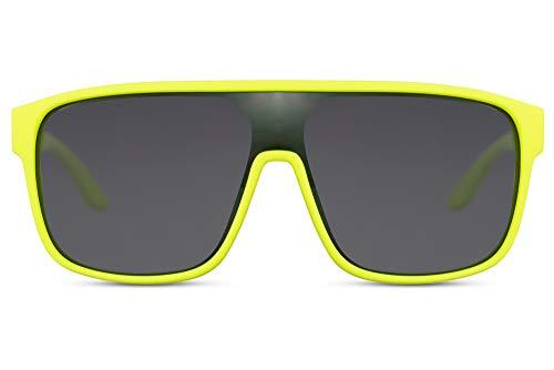 Cheapass Gafas de sol Big XL Protección Gafas con Montura de Goma Amarilla Neon y Lentes Negras Hombres Mujeres