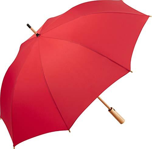 ÖkoBrella nachhaltiger Midsize-Bambus Stockschirm Regenschirm (Oeko-TEX® 100) mit Automatik-Funktion; Bezug aus recycelten Kunststoffen; hochwertiger Bambusgriff; Windproof-System (Rot)