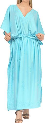 LA LEELA Mujeres caftán Rayón túnica Bordado Kimono Libre tamaño Largo Maxi Vestido de Fiesta para Loungewear Vacaciones Ropa de Dormir Playa Todos los días Cubrir Vestidos Y