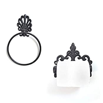 Paper Towel Rack and Towel Rack Antique Hanging Vintage Toilet Paper Holder and Towel Ring Bathroom Accessories Suitable for Bathroom Kitchen and Toilet  Towel Ring + Toilet Paper Holder