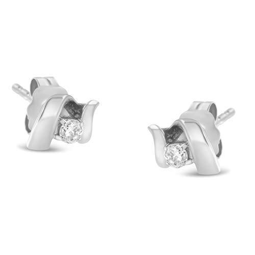 Pendientes de tuerca de oro blanco o amarillo de 10 quilates de 1/10 quilates de diamante redondo de talla brillante Espira Swirls con botón trasero (color I-J, claridad I1-I2)...