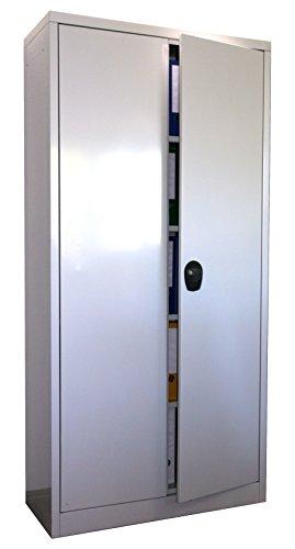 Stahlschrank 180x80x40 cm, 4 Böden, Drehverschluss, (RAL7035) lichtgrau (Ordnerschrank Büroschrank Werkzeugschrank Metallschrank)