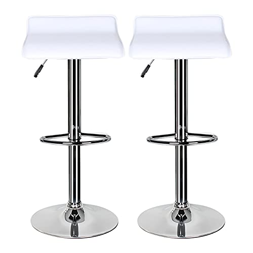 Bar Stools Set of 2,White Bar Stool for Kitchens with Chrome Footrest and Base Swivel Gas Lift Leather Breakfast Bar Stool for Diningroom/Counter/Kitchen Home Furniture