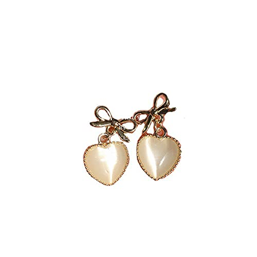 Pendientes de ojo de gato en forma de corazón de amor de otoño e invierno con arcos exquisitos y lindos pendientes de botón de aguja de plata 925