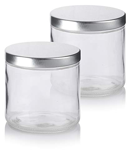 Large Clear Thick Glass Straight Sided Jar with Silver Metal Lid - 16 oz / 480 ml (2 Pack)