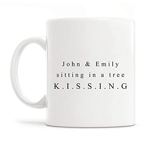 N\A Taza Personalizada para Pareja, Taza romántica, Cita de Amor, Nombre Personalizado, Taza de cerámica, Taza de café de 11 oz