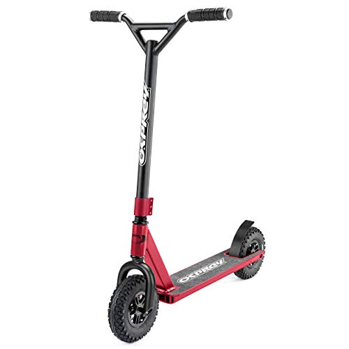 Osprey Dirt Scooter with Off Road All Terrain Pneumatic Trail Tires and Aluminum Deck - Metallic Red - Offroad Scooter for Adults or Kids