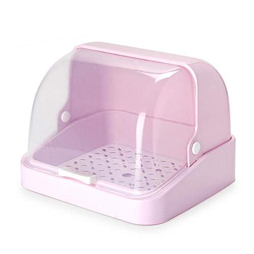 Hamkaw Trockengestell für Milchflaschen, multifunktional, tragbare Babyflasche, Aufbewahrungsbox mit Anti-Staub-Abdeckung - Home Kitchen Geschirr-Organizer Rose