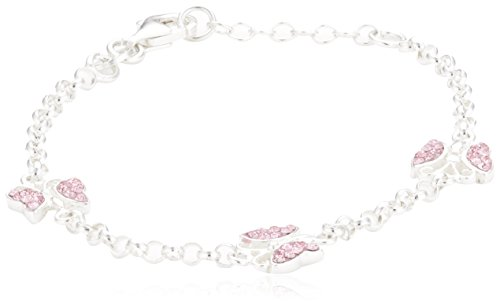 ZEEme for Kids Kinder Armband Silber 925 Sterling Silber Schmetterling 16/14cm Kristall pink 299260046-16-1