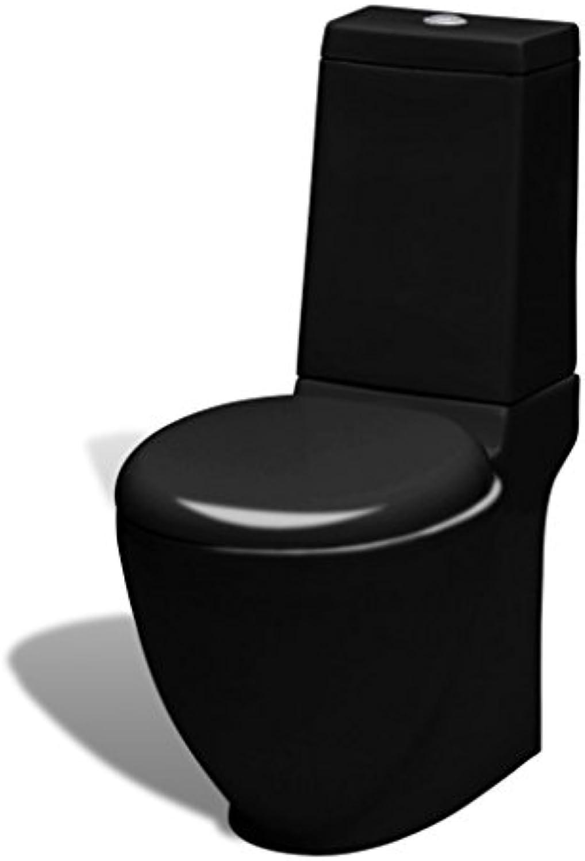 Festnight Keramik WC Stand-WC Stand-Toilette Bodenstehend Toilette Badezimmertoilette 3 oder 6 L Schwarz