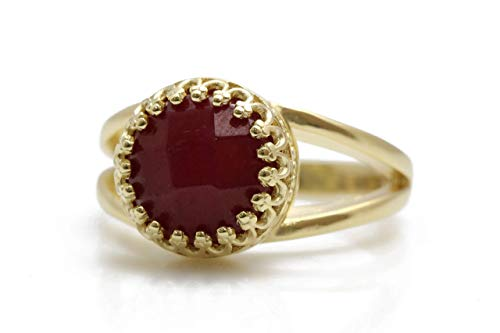 4CT Ruby Ring by Anemone Jewelry - Adorable Gold Ring - AA Ruby 10mm Ring with All Sizes and Free Fancy Ring Gift Box - Handmade