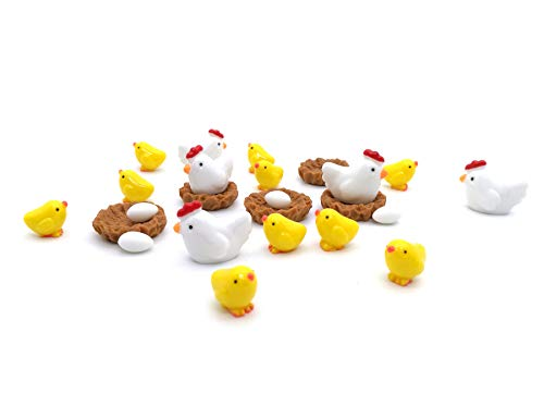 Easy 99 Mini Animals Miniature Figurines Fairy Garden Miniature Moss Landscape DIY Terrarium Crafts Ornament Accessories for Home Décor (Chicken Family, Set of 24)