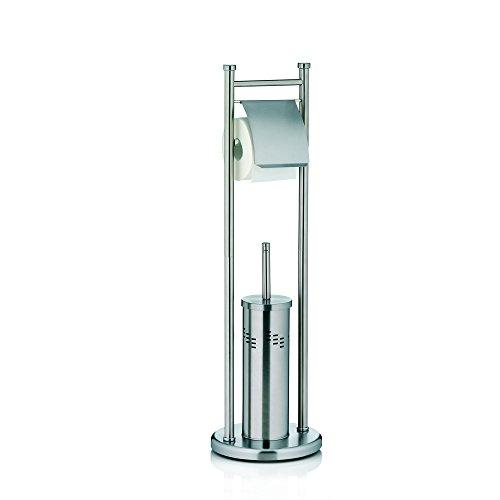 Kela 22492, WC-Bürstenbehälter und Papierhalterung, Toilettengarnitur, Edelstahl, Swing, 77,5cm, Silber Matt