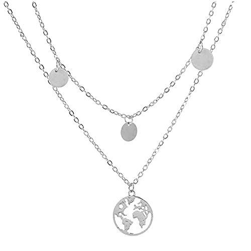 WFS Regalo Collar de aleación Collar de Amor de Oro de Mujer Colgante Collar de múltiples Capas Joyería Joyas (Color : Silver)