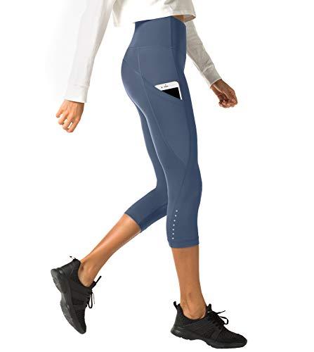 LAPASA Mallas Deportivas 3/4 Capris de Mujer Cintura Alta (Leggings para Yoga, Pilates, Running) L02 (XS/34 (Cintura 58-66, Cadera 74-82 cm), Bluish-Gray II (Bolsillo Lateral))