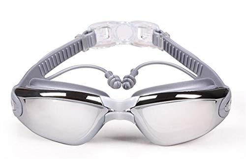 Kurzsichtig Schwimmbrillen (0 Bis -800) Kurzsichtigkeit UV400 Anti-UV Anti Nebel Sehstärke Schutzbrille Mit Ohrstöpsel, Abnehmbare Nasenbrücke Perfekt Für Jeder ( Color : Gray , Size : 300 )