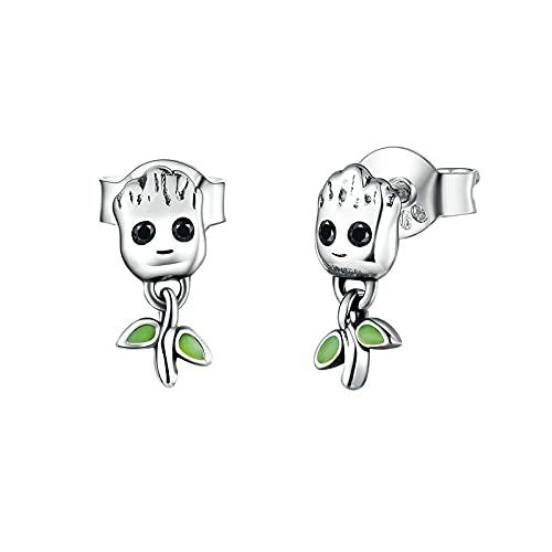 Pendientes De Botón De Hombre Pequeño Árbol Para Mujer, Joyería Hipoalergénica De Dibujos Animados, Regalo Para Niña, Joyería De Plata De Ley 925