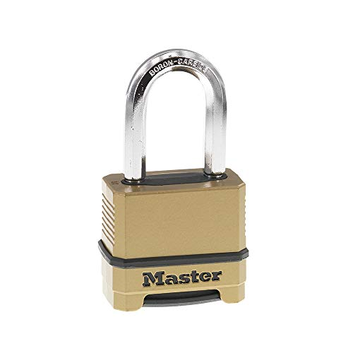 Master Lock M175XDLF Heavy Duty Outdoor Combination Lock, 1-1/2 Inch Shackle, Brass Finish