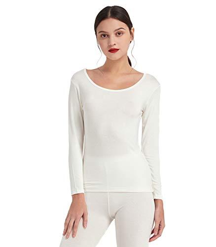 Mcilia Camiseta Interior para Mujer de Capa Térmica Modal de Manga Larga con Cuello Redondo Bajo Marfil Blanco Small (EU 34 36 38)