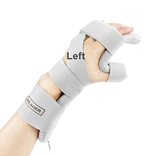 REAQER Stroke Resting Hand Splint Night Immobilizer Muscle Atrophy Rehabilitation For Hand, Wrist And Finger (Left)