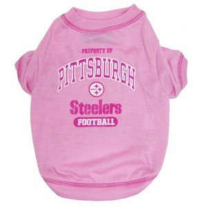 NFL Pittsburgh Steelers Pink Dog T-Shirt, Large. - Football Sports Fan Pet Shirt.