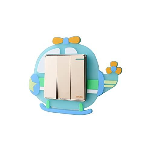 ZZLLFF 3D Dibujos Animados Silicona Silicone Switch Pegatinas Sala de Estar Dormitorio Lámpara doméstica Panel de zócalo Pegatina de Interruptor Decorativo (Color : Helicopter)