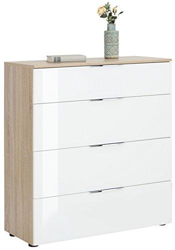 lisel-de Kommode Maja Möbel mit 4 Schubkästen/Schubladenkommode 7808 in Sonoma Eiche/Weißglas 90x99x40cm
