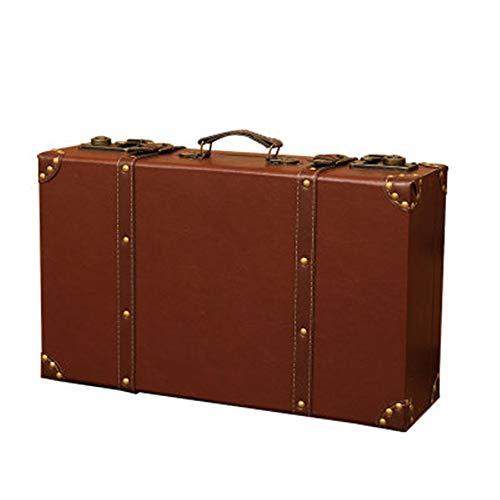 トランクケース アンティーク ヴィンテージスーツケースの撮影の小道具ホームストレージボックス木製荷物レトロウィンドウ装飾家具スーツケース 家の装飾に適しています (Color : Vintage, Size : S(44x22.5x11.5cm))