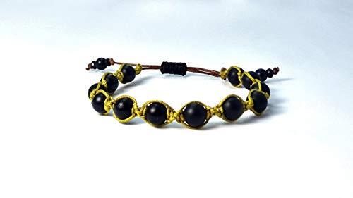 Shamballa-Armband aus Jade Naturstein Perlen mit'mustard brown' Macramee Band, verstellbar ab 16,5cm