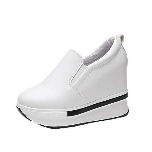 Zapatos Casuales de Plataforma para Mujer Mocasines de Cuero con Punta Redonda y Color sólido Antideslizantes Impermeables Zapatillas de cuña con tacón Oculto para Mujer