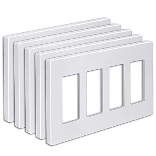 """[5 Pack] BESTTEN 4-Gang Screwless Wall Plate, USWP6 Snow White Series, Decorator Outlet Cover, H4.69"""" x L8.35"""", for Light Switch, Dimmer, GFCI, USB Receptacle"""