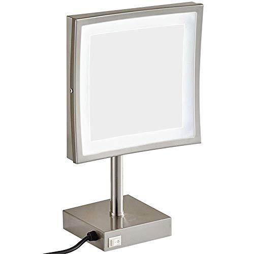 HGXC Espejos de Maquillaje, vanidad con luz LED de latón Ajustable de pie cosmético 3X Que Aumenta con el Enchufe del Interruptor
