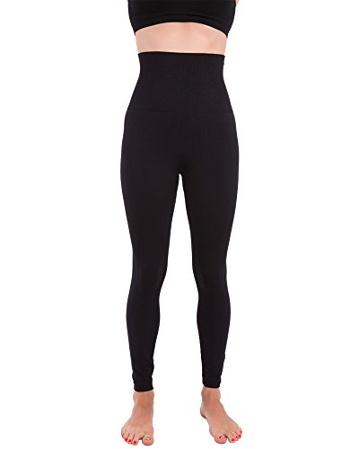 Homma Activewear Thick High Waist Tummy Compression Slimming Body Leggings Pant (Large, Black)