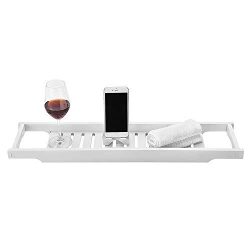 GOTOTOP Estante para bañera de WPC, bandeja para bañera, organizador de bañera, puede albergar todo como aperitivos, frutas, teléfonos móviles, vasos de vino, 70 x 16 x 4 cm