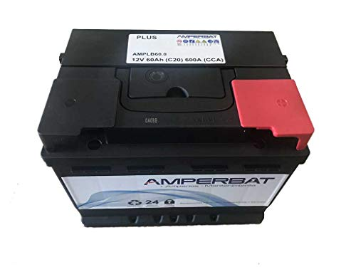 Batería coche 60Ah 600A +Derecha reemplaza D24, D59, D21, D15, TA640, TB620 Gama Plus 242x175x175 con mayor fuerza de arranque