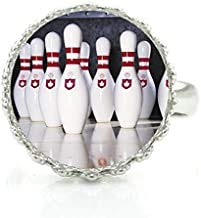 Bowling Strike Sportringe Glas Cabochon Dome Bowling Ball Crown Ring für Männer Frauen Schmuck
