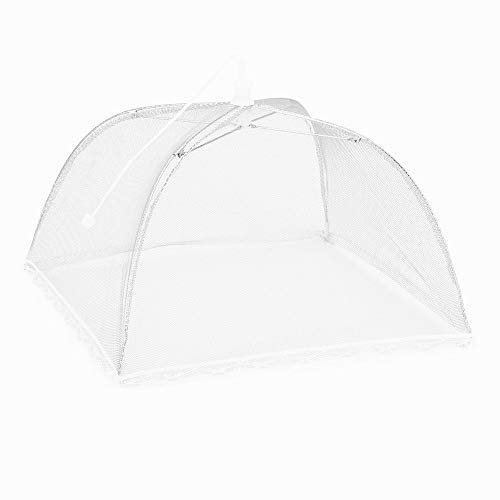 Food Protection Cover Large Pop up Umbrella Tent Dome Net Umbrella Lace Mosquito Table Dining Net Food Cover (White)