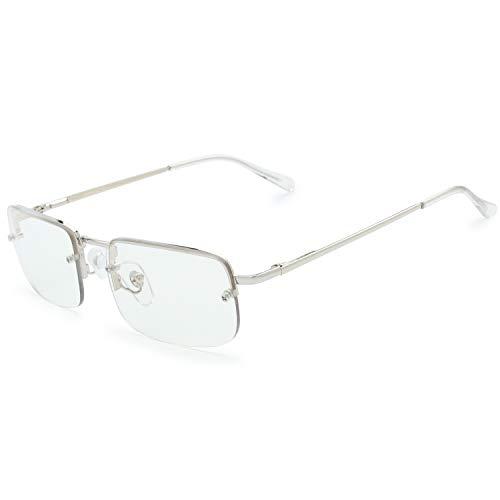 The Fresh - Bisagra para gafas de sol rectangulares pequeñas y minimalistas (caja de regalo), Gris (Lente de bloqueo de luz gris y azul.), Medium
