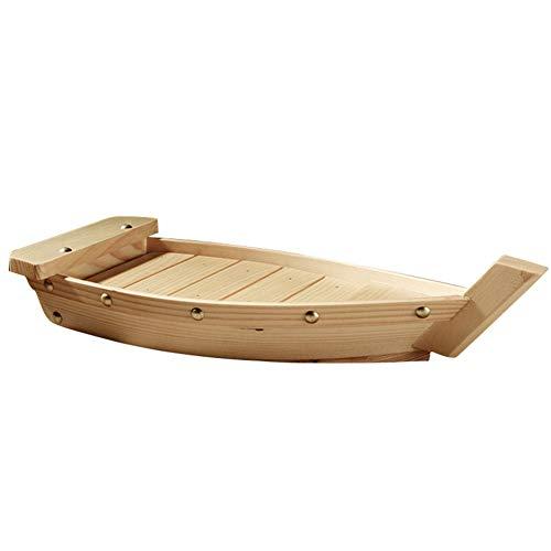 HilMe Sushi Bar japonés de madera, bandeja de servicio creativo para sushi y barcos de madera, vajilla en forma de barco de mesa para la restauración en familia