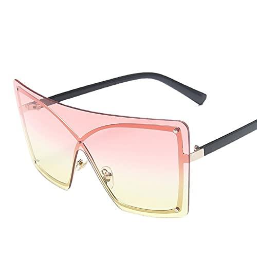XUANTAO Retro Big Frame Moda de una sola pieza PC Gafas de sol Plaza Gafas de sol Mujeres Salir a la calle Tiro Esencial Gafas Oro Marco superior Polvo y Película Amarillo