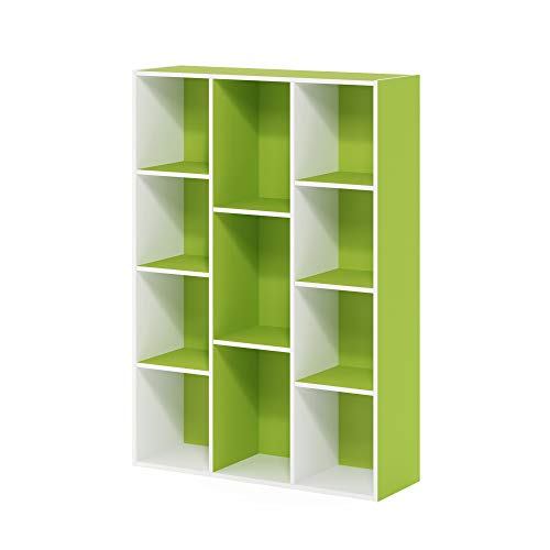 FURINNO 11107WH-GR 7 Reversible 11-Cube Shelf Bookcase for 39.79