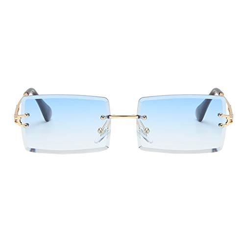 freneci Retro Rechteck Sonnenbrillen für Frauen & Männer, Randlose Sonnenbrille,Gradient Kleine Quadrat Gläser Randlose Getönt Objektiv Brillen UV400 - Blau