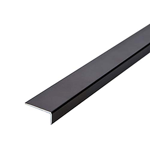 Topshop Tira de transición de Borde de Escalera 2 Piezas 1,2 m de Longitud en Forma de L de Aluminio Borde de Escalera (Color: Negro, tamaño: 20 x 0,7 x 120 cm)
