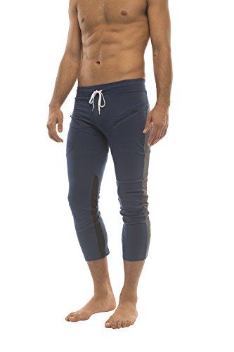 Mens 3/4 or 4/5 Length Zipper Pocket Capri Yoga Pant (Small, Royal w/Charcoal & Black)