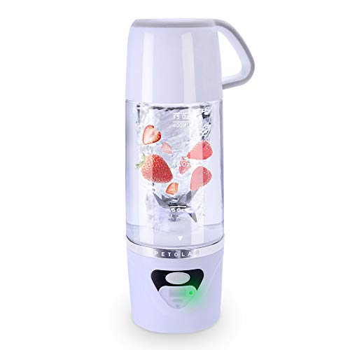 Batidoras de Vaso Individuales, 600ML Mini Licuadora Eléctrica, Recargable Juice Blender con USB, para Zumos de Fruta y Verdura, Ensalada, Sopa, Alimentos para Bebés (White)
