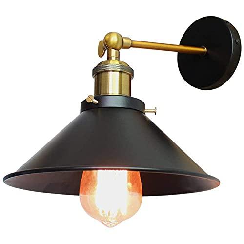 Lámpara De Pared Vintage Lámpara Industrial Edison E27 Lámpara De Pared Retro Interior Lámpara De Pared Led Para Dormitorio Pasillo Cafe Loft Bar Diámetro 22 Cm Negro