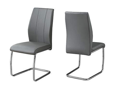 BESTSOON sillas de comedor de 2 piezas con asiento acolchado de cuero sintético voladizo cromado con patas modernas para comedor, sala de estar, cocina